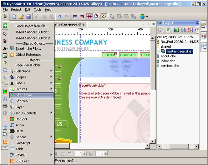 Dynamic HTML Editor Screenshot