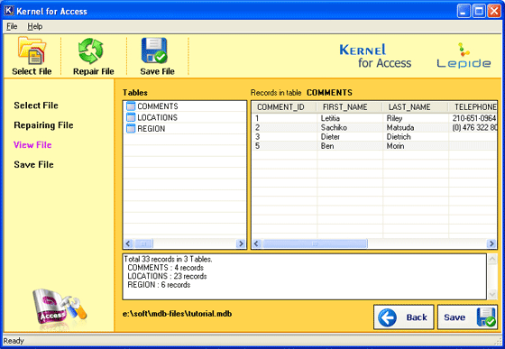 MS Access Recovery Screenshot 2