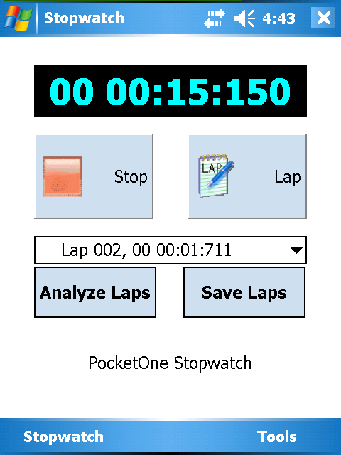 PocketOne StopWatch Screenshot 1