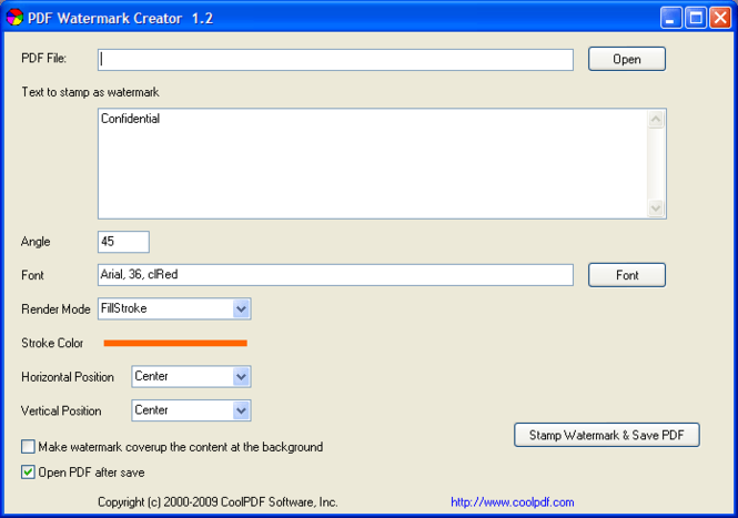 PDF Watermark Creator Screenshot