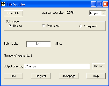 File Splitter Screenshot