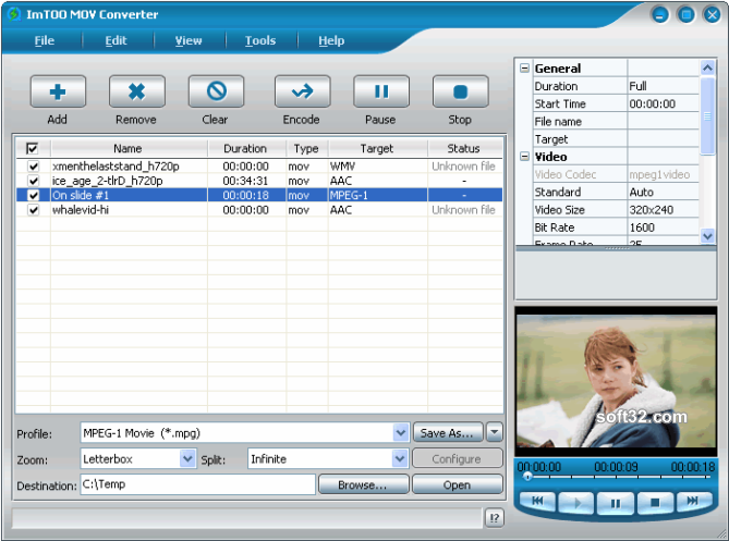ImTOO MOV Converter Screenshot 3