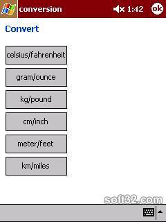 Unit Converter for PDA Screenshot 1