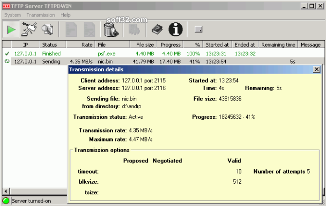 TFTP Server TFTPDWIN Screenshot 3