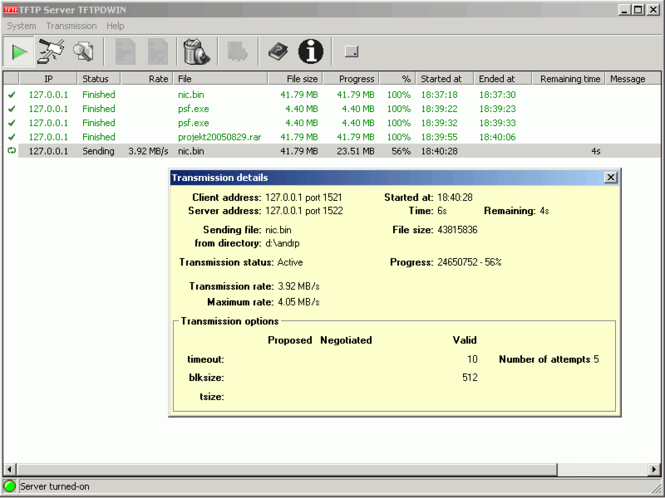 TFTP Server TFTPDWIN Screenshot