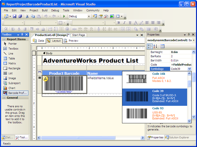 MS SQL Reporting Services Barcode .NET Screenshot
