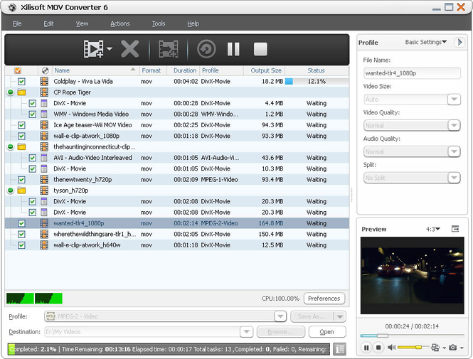 Xilisoft MOV Converter Screenshot 1