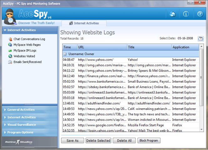 AceSpy Spy Software Screenshot