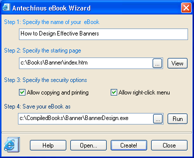Antechinus eBook Wizard Screenshot