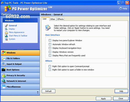 PC Power Optimizer Lite Screenshot