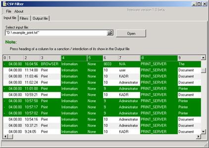 CSV Filter Screenshot 1