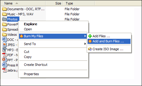 Burn My Files Screenshot 1