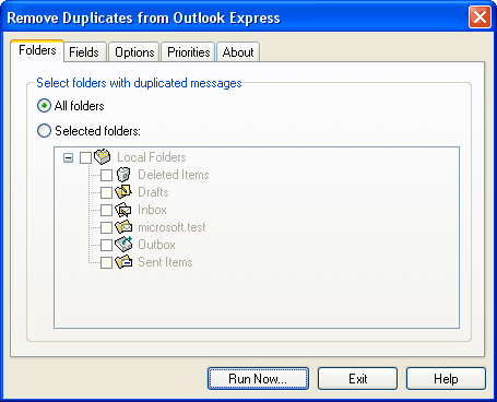 Remove Duplicates from Outlook Express Screenshot