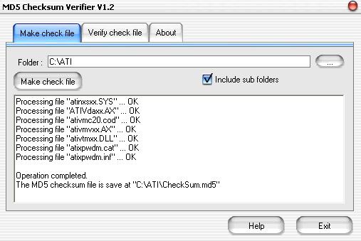 MD5 Checksum Verifier Screenshot