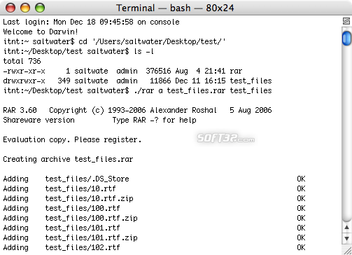 RAR for Mac OS X Screenshot