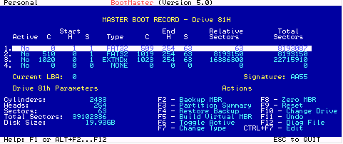 BootMaster Partition Recovery Screenshot 1