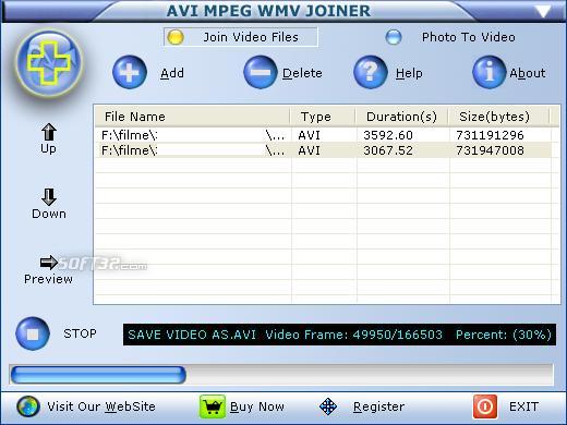 AVI MPEG WMV Joiner Screenshot