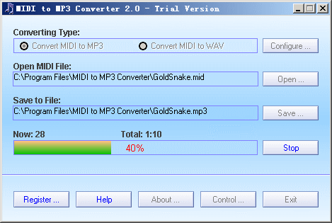 MIDI to MP3 Converter Screenshot