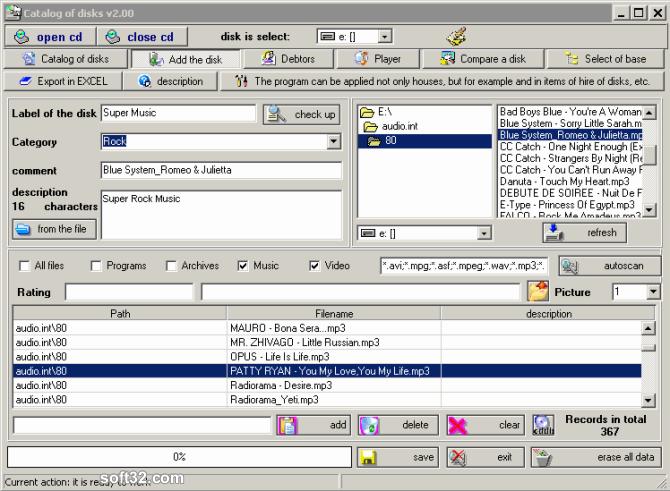 Catalogue of disks Screenshot 2