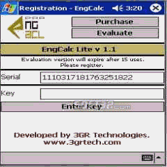 EngCalcLite(Hydraulic) - PocketPC Calculator Screenshot 2