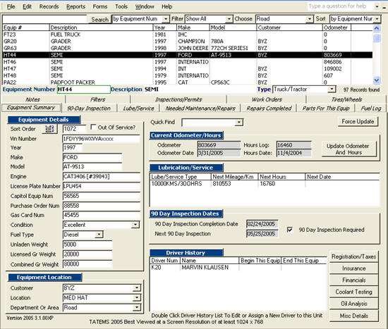 TATEMS Fleet Management Maintenance Software Screenshot 2