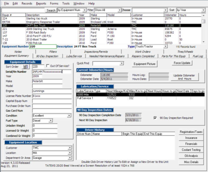 TATEMS Fleet Management Maintenance Software Screenshot