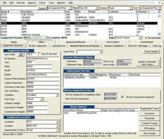 TATEMS Fleet Management Maintenance Software Screenshot 3