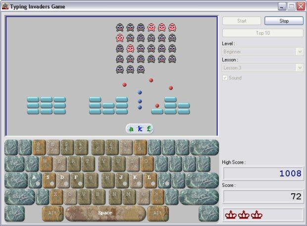 Typing Invaders - Free Typing Game Screenshot