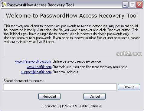 PasswordNow Access Recovery Tool Screenshot