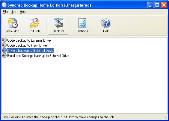 Synchro Backup Home Edition Screenshot