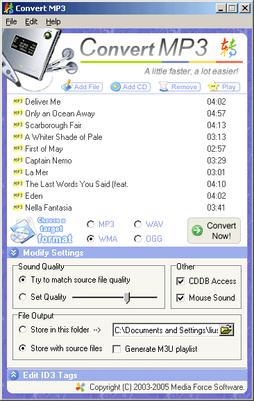 Convert MP3 Screenshot