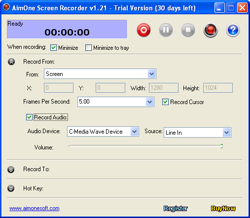 AimOne Screen Recorder Screenshot