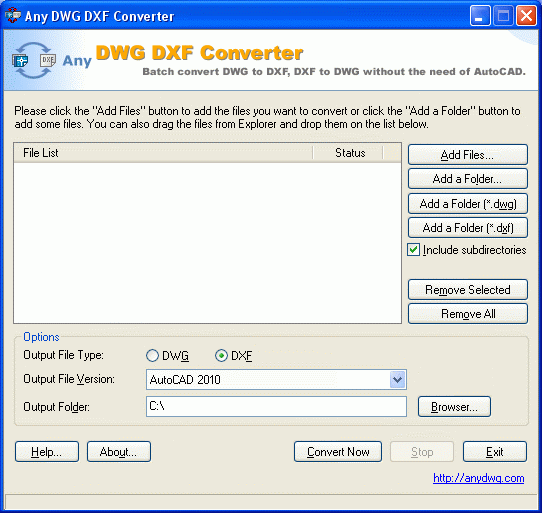 DWG to DXF Convert Screenshot