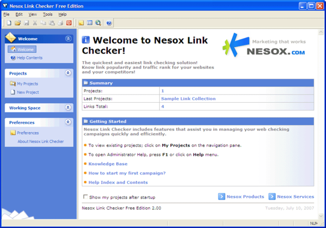 Nesox Link Checker Free Edition Screenshot