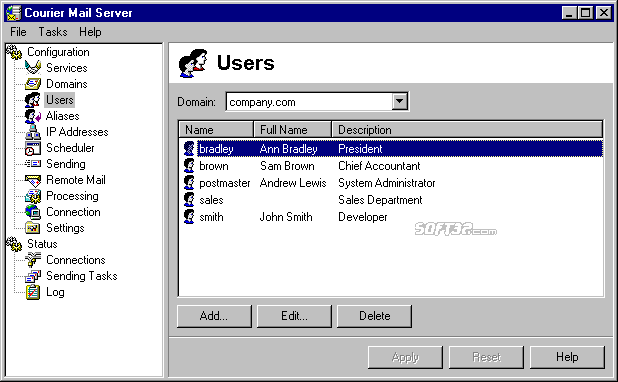 Courier Mail Server Screenshot 3