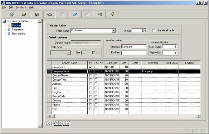 Test data generator TDG Screenshot 2