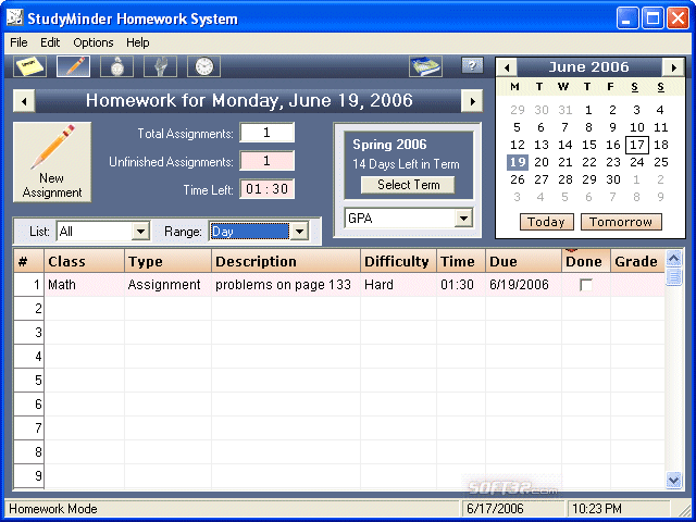 StudyMinder Homework System Screenshot 2