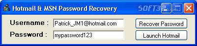 Hotmail & MSN Password Recovery Screenshot 2