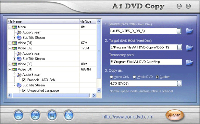 A1 DVD Copy Screenshot