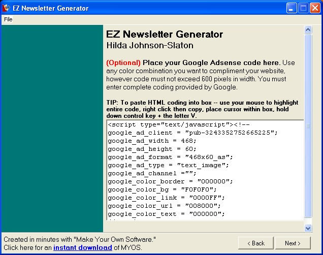 EZNewsletter Generator Screenshot