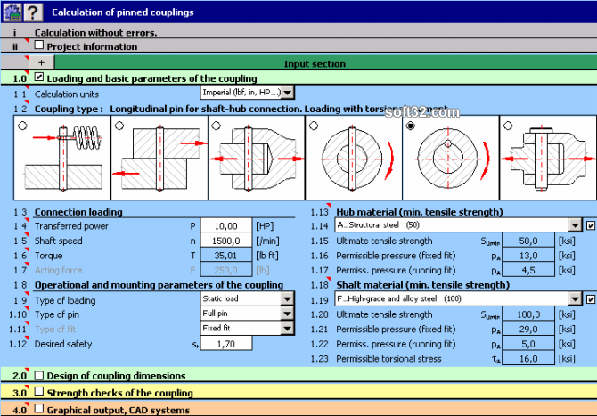 MITCalc - Pinned couplings Screenshot 3