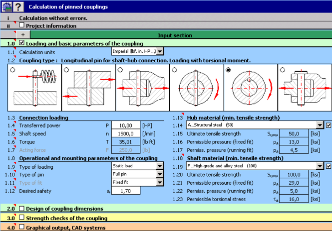 MITCalc - Pinned couplings Screenshot 1