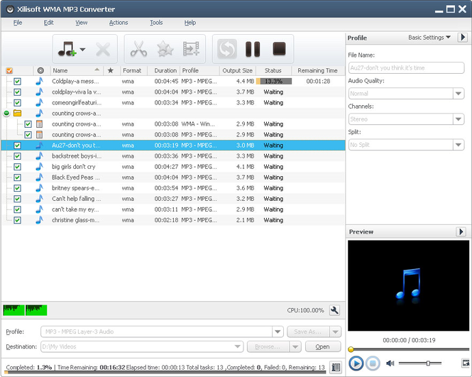 Xilisoft WMA MP3 Converter Screenshot 1