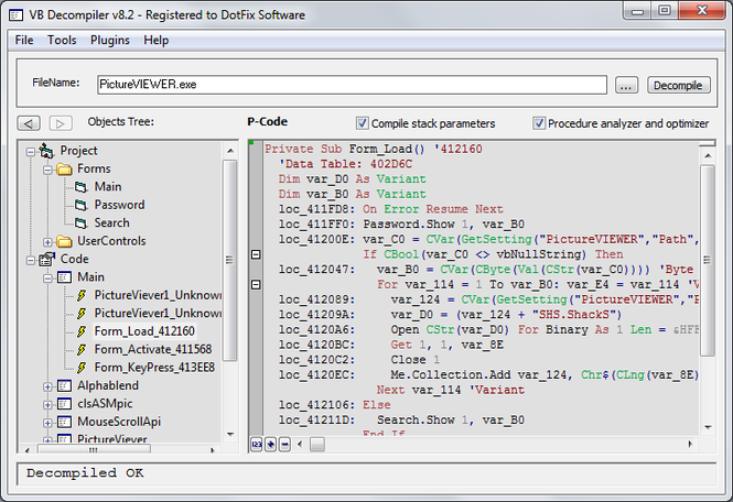 VB Decompiler Screenshot 1