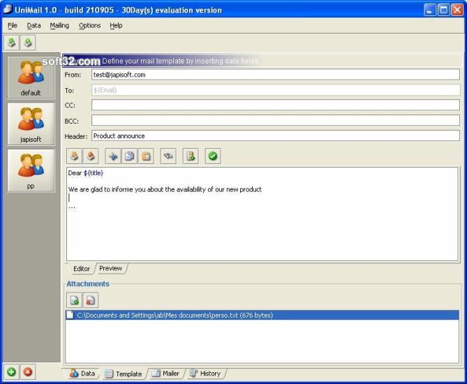 UniMailer (for Windows) Screenshot 2