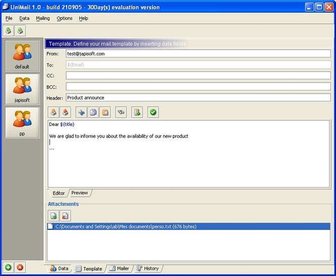 UniMailer (for Windows + Java VM) Screenshot 1