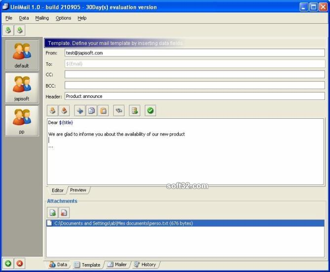 UniMailer (for Windows + Java VM) Screenshot 3