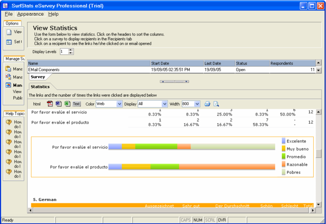 Surfstats eSurvey 2005 Screenshot
