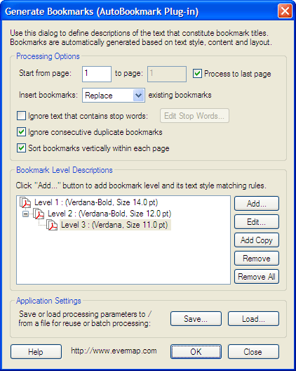 AutoBookmark Plug-in for Adobe Acrobat Screenshot 1