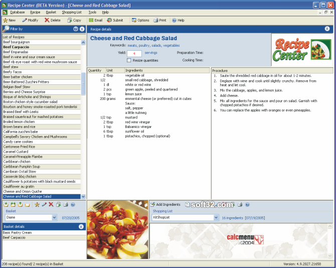 Recipe Center Screenshot